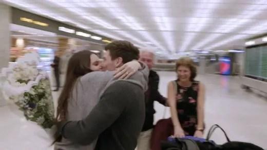 Brandon Gibbs and Julia Trubkina make out at the airport