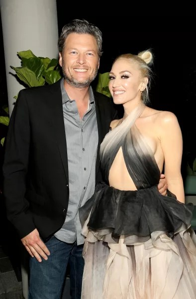 Gwen Stefani in Black with Blake Shelton