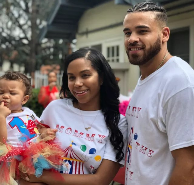 Cheyenne floyd and cory wharton with daughter
