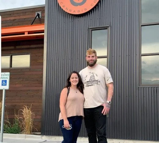 Jenelle and David at a Pot Dispensary