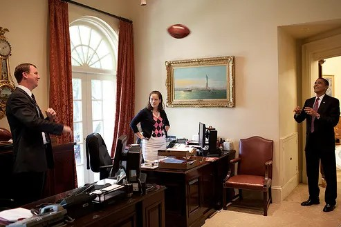 President Obama Rocking Man Cave Status in Oval Office