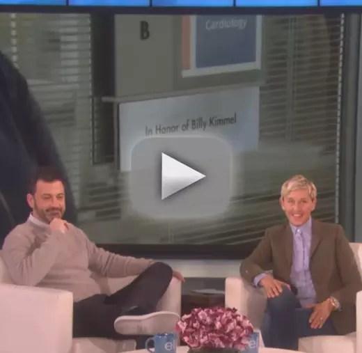 Ellen degeneres gifts jimmy kimmel a hospital room in his sons h