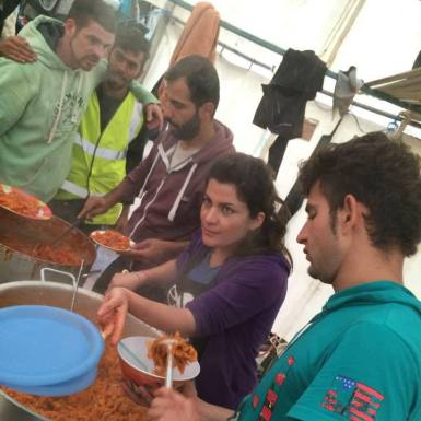 Food served in refugee camp