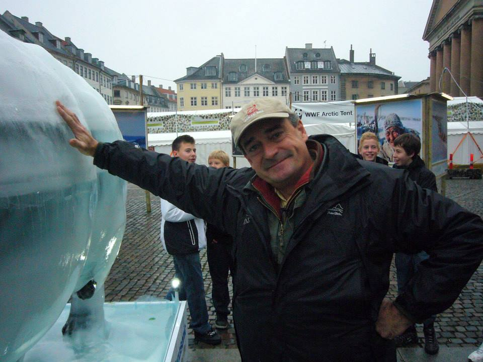 Mark Coreth with his Ice Bear in Copenhagen, 2010