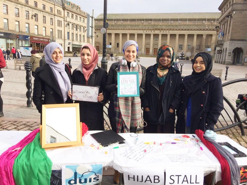 volunteers at hijab stall