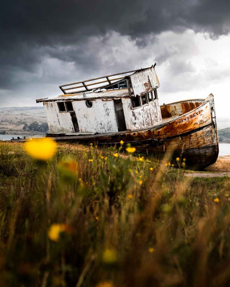 white wooden boat adrift at shore under grey cloudy sky