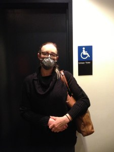 Me wearing a 3M mask to protect my airways from chemicals