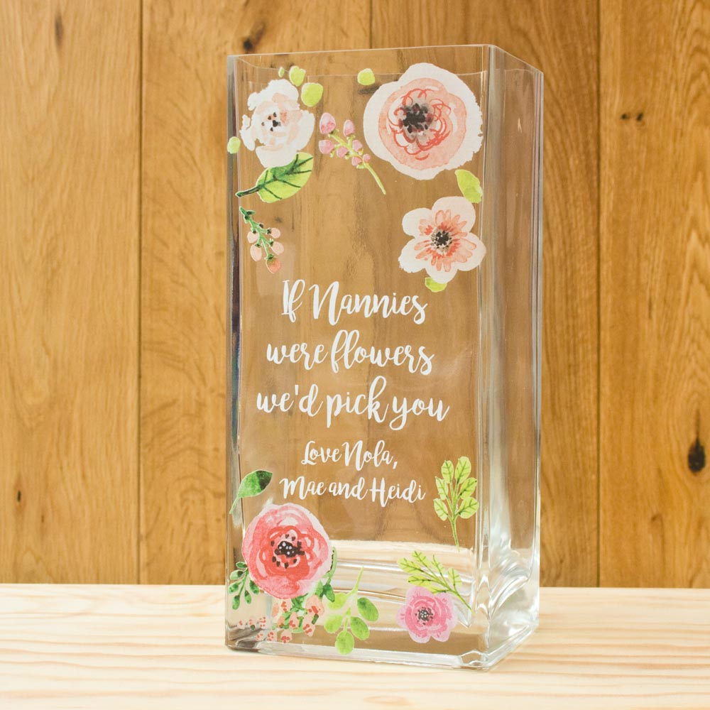 Printed Vase Personalised Floral The Laser Boutique