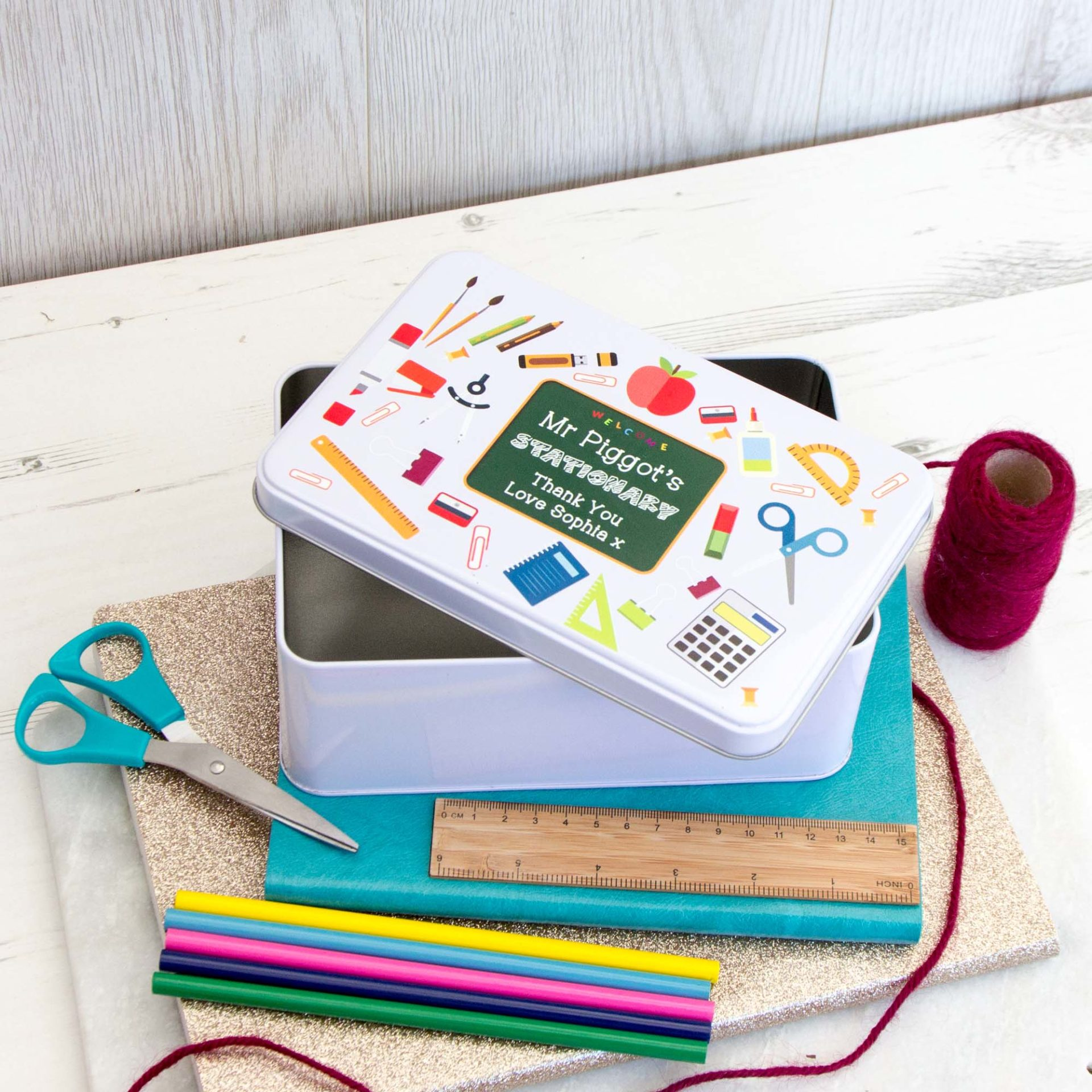 teacher stationery tin