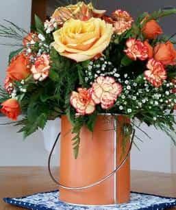 Orange Rose and Carnation Bouquet, carnations and roses_florist_gypsophila, orange bouquet, flower bouquet, flowers online, little flower_shop_florist_online-min