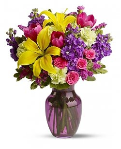 purple and yellow-mothers-day-flowers-flower-bouquet-yellow-lily-pink-rose-purple-flowers purple flowers-the little flower shop-florist-london-flower-shop