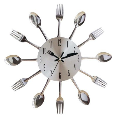 cutlery kitchen decorative-wall-clock-stainless-steel-the-little-flower-shop-gifts-for-all-occasions-florist-london-unique-gifts-online
