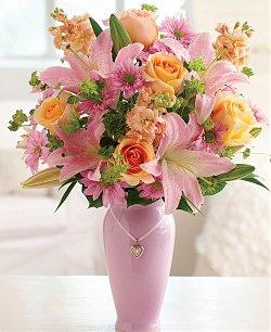 pink lily-orange-rose-bouquet-mothers0day-flower-bouquet-the-little-flower-shop-florist-london