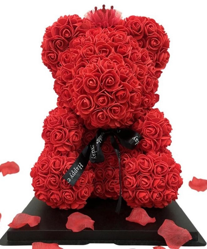 valentines-teddy-bear-flowers-flower-rose-teddy-bear-made-of-flowers-love-teddy-toy-rose-flowers-the-little-flower-shop-gifts for all-occasions-RED
