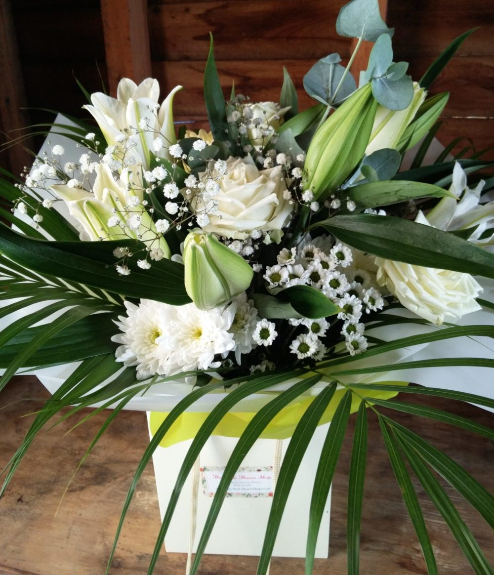 White Rose And Lily Bouquet The Little Flower Shop Flower Delivery Uk