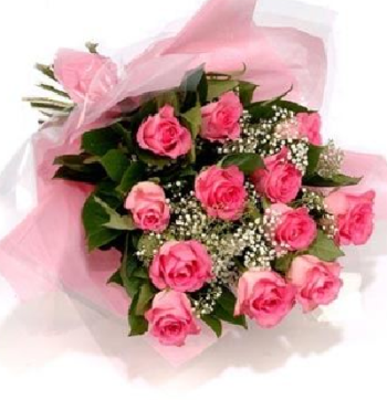 pink-rose-bouquet-with-gyp-mothers-day-flowers-pink roses-pink-flowers-the-little-flower-shop-uk-florist-brixton-florist-dozen-pink-roses