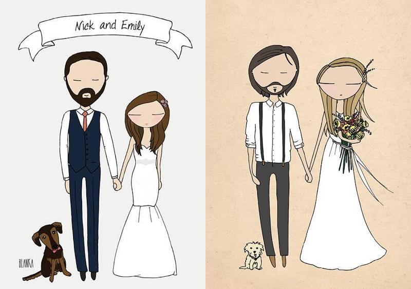 Kreative Einladungskarten fr die Hochzeit von Blanka Illustration  Hochzeitsblog The Little