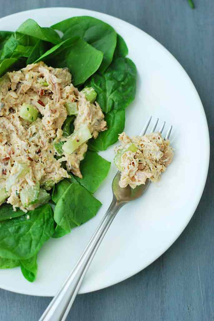 This low carb chicken salad is a classic family dish. The tender shredded chicken breast, crunchy pecans and fresh celery in each bite are hard to top.