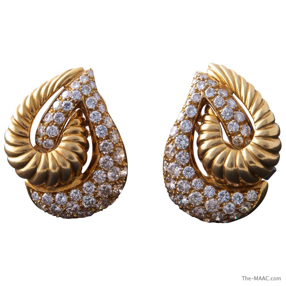 Italian Tear Drop Gold and Diamond Earrings