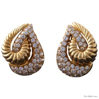 Italian Tear Drop Gold and Diamond Earrings
