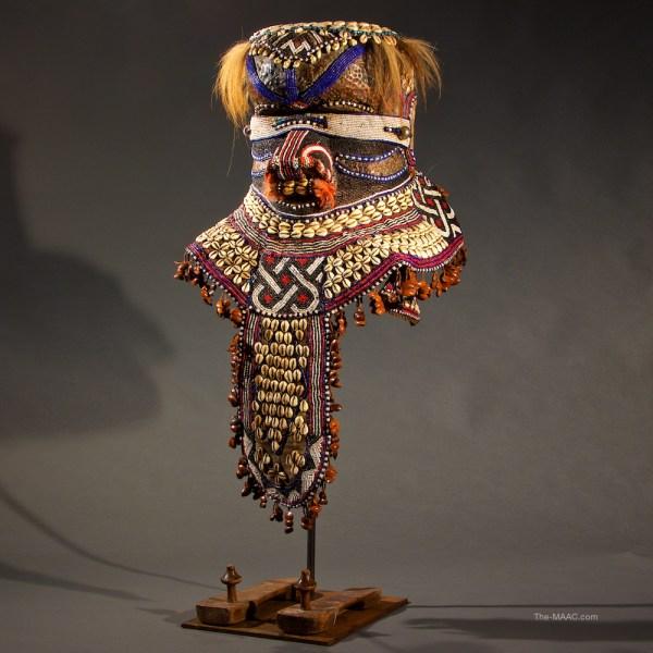 Kuba Beaded Helmet Mask With Slippers - Manhattan Art And