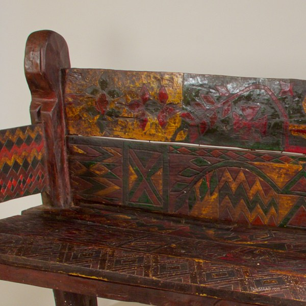 Intricately Painted Ethiopian Bench - Manhattan Art And