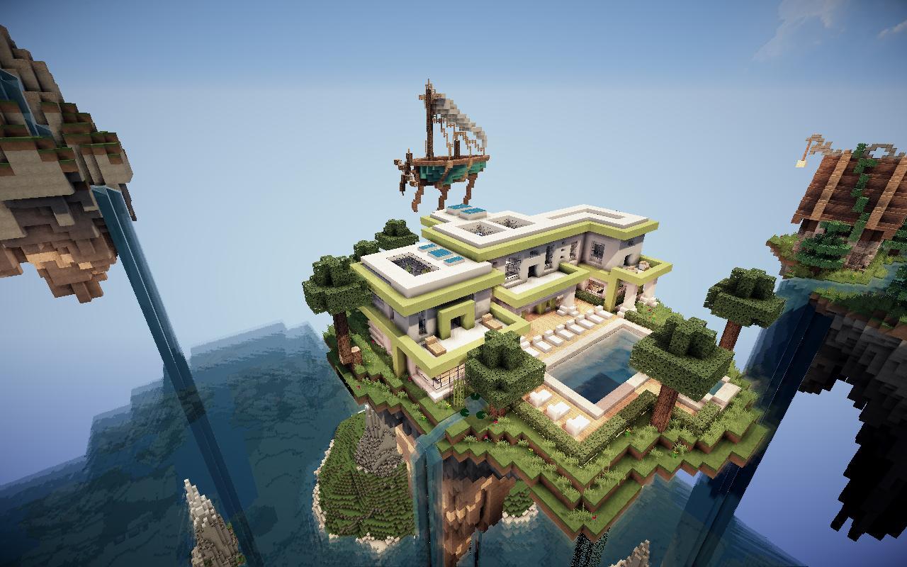 Fond Dcran Minecraft Maison Moderne Sur Le Flottante