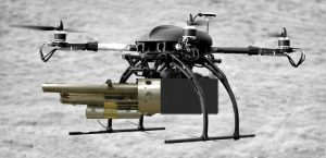 A photographer's quadcopter drone, with the camera arm replaced with a version of Colin Furze's thermite launcher.