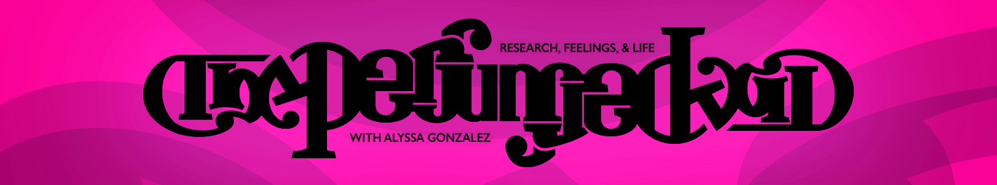 The Perfumed Void - Research, Feelings, and Life with Alyssa Gonzalez. Logo is an ambigram on a light purple and pink background. Designed by Alex Gabriel in 2018.
