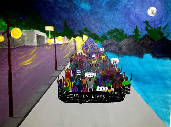 Painting of Fergusson protest with banner Stolen Lives