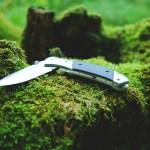 コケの上に置かれたフォールディングナイフ