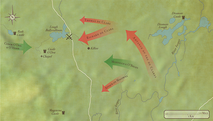 Plan of the Battle of Dysert O'Dea, 10 March 1318. The battle was a decisive defeat for the English cavalry and a major milestone in the gathering 'Gaelic resurgence'