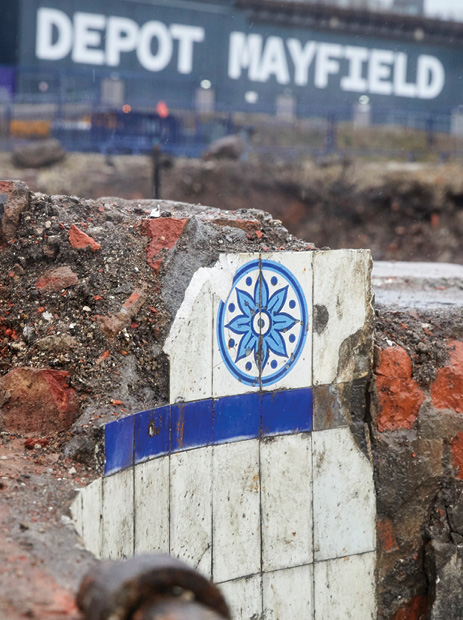 left Many of the ornate tiles used in the Mayfield Baths were found during the excavation.