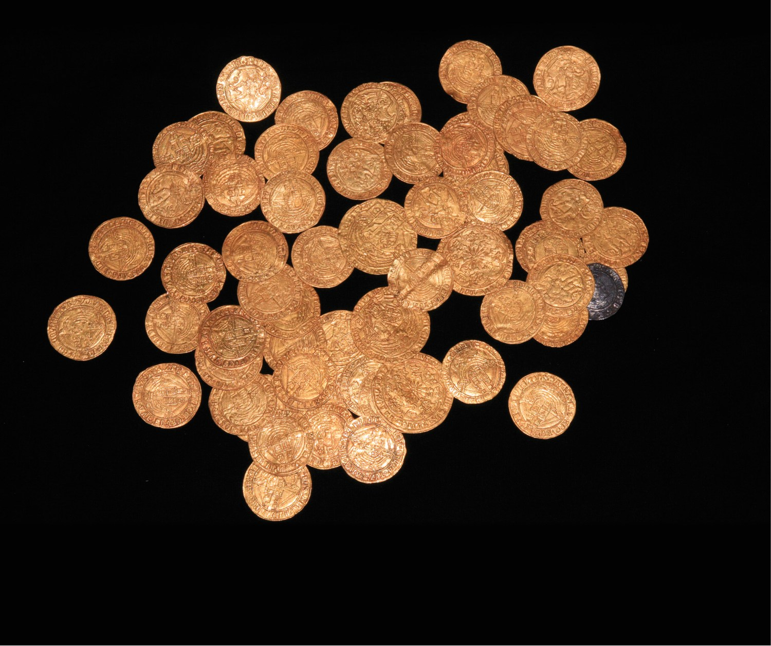 left A hoard of 63 gold and one silver coin, spanning the late 15th and 16th centuries in date, has been discovered in the New Forest area by a family gardening during lockdown.