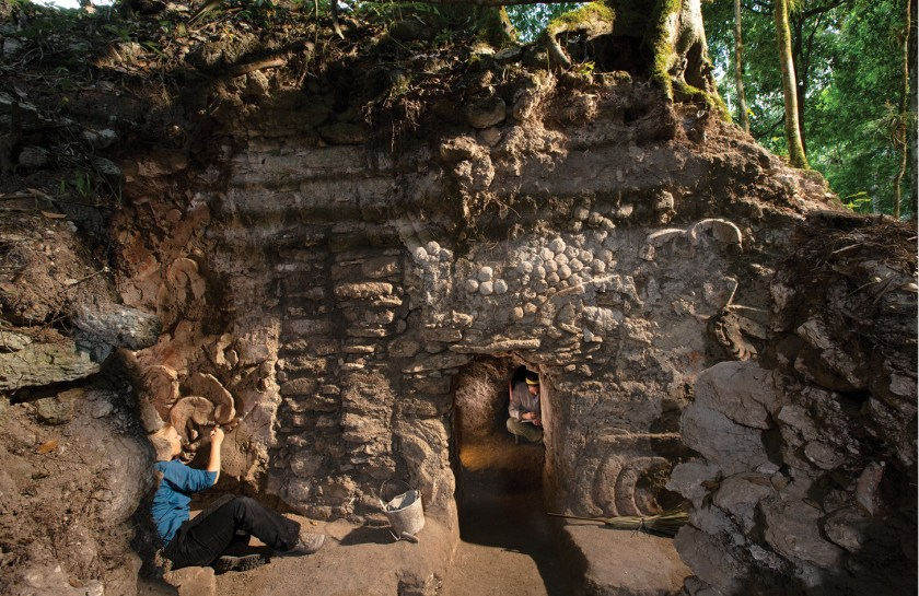 The door to the sweat bath is positioned between the amphibian goddess' legs, which are covered with iguanas and toads.  Image: © David Coventry