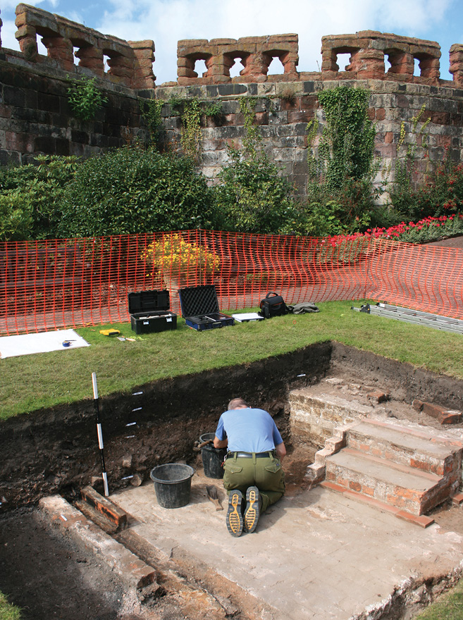 LEFT Overlooking the remains of a Victorian greenhouse recently excavated at Shrewsbury Castle.