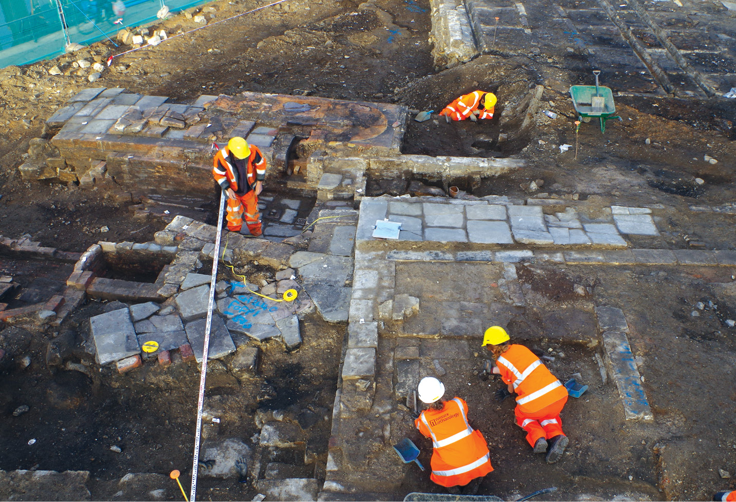 RIGHT Wessex Archaeology excavating the boiler and pump rooms of the Milk Street Baths. This pioneering facility was one of the earliest of the public wash houses built in this country during the Victorian period.