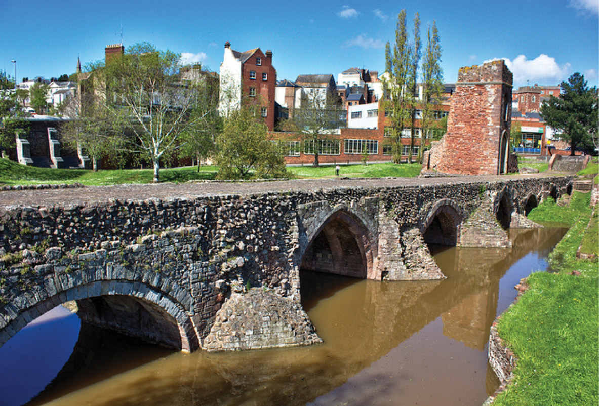 right The standing remains of Exeter's medieval bridge over the River Exe.