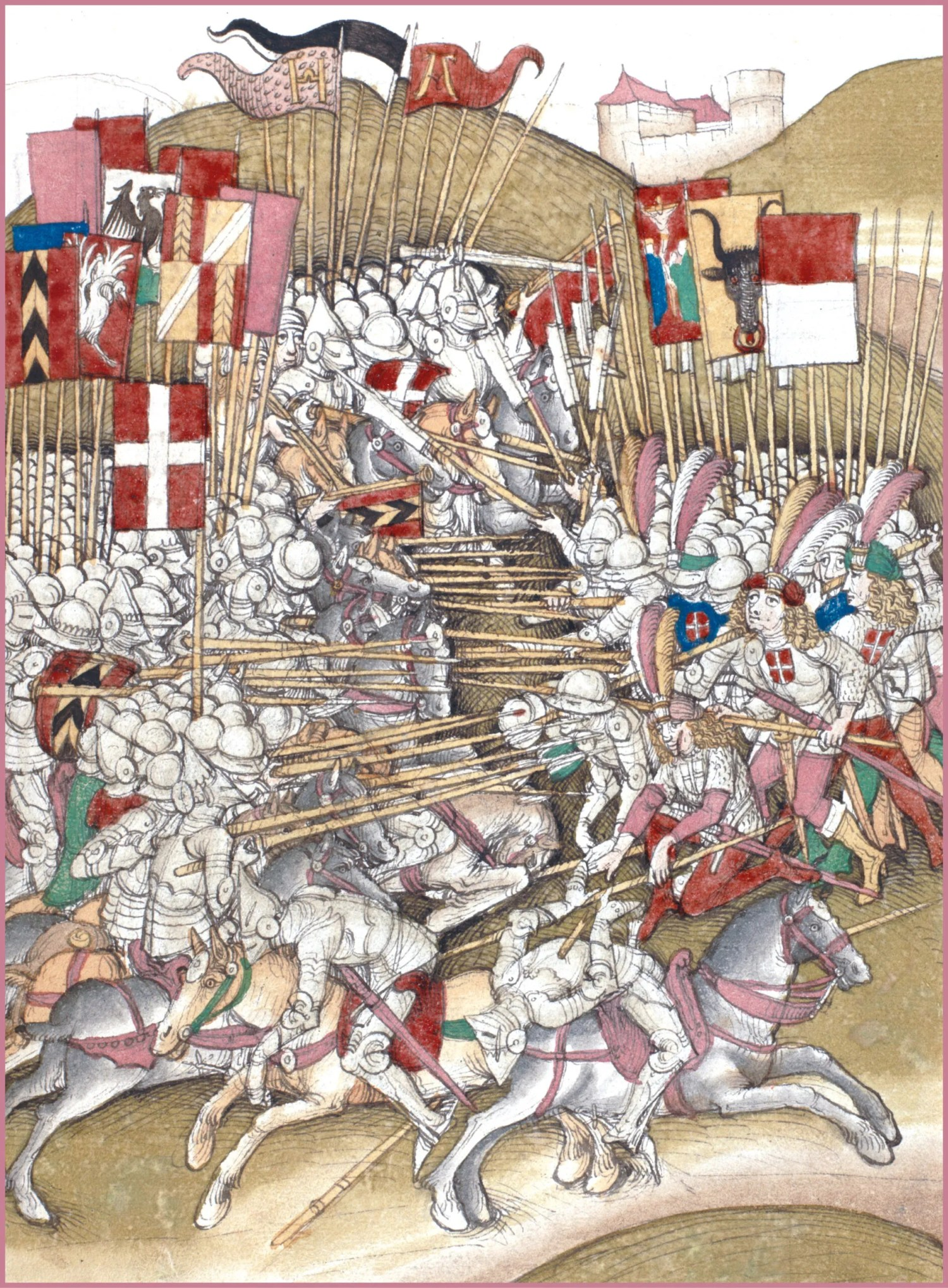 OPPOSITE Another near-contemporary image, this of the Battle of Laupen. The artist has depicted the mountainous terrain and shows the doomed Austrian chivalry on the left, Erlach's Swiss on the right.