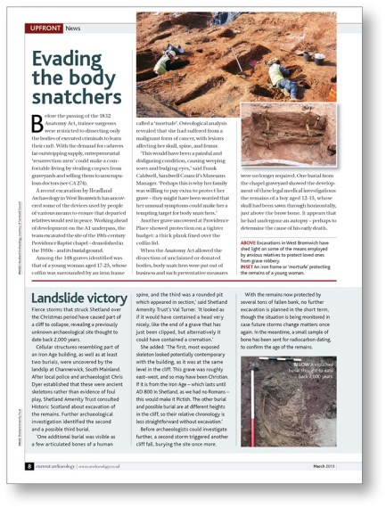 RIGHT In 2013, excavations in West Bromwich uncovered the burial ground of the Providence Baptist Chapel. CA 276 reported on a 'mortsafe' that was discovered during the project.