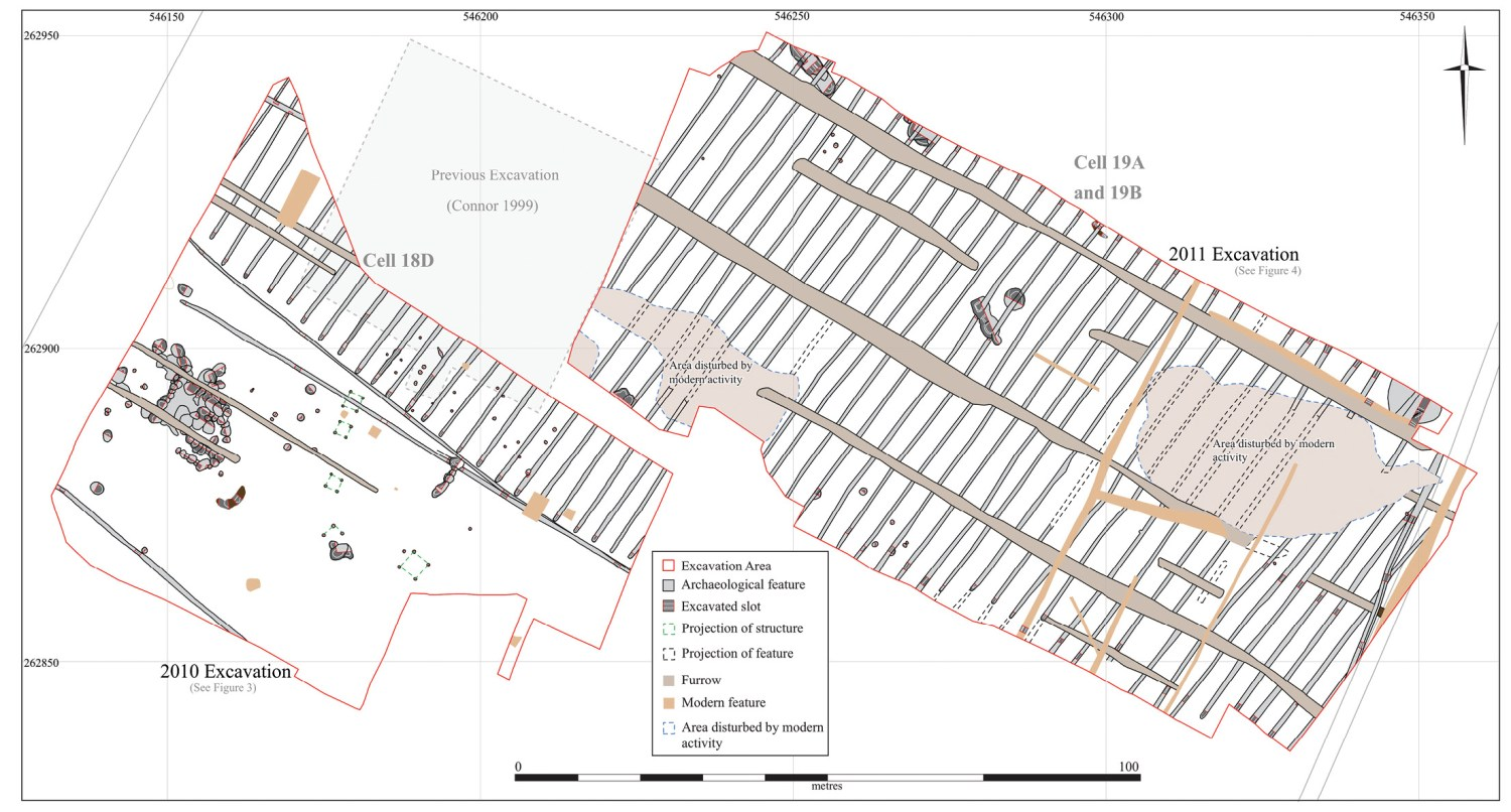 below Densely packed lines of Roman planting trenches (shown in grey) excavated at the Milton Landfill, Cambridgeshire, in 2010 and 2011. These trenches could have grown over 5,000 cabbages in a season.