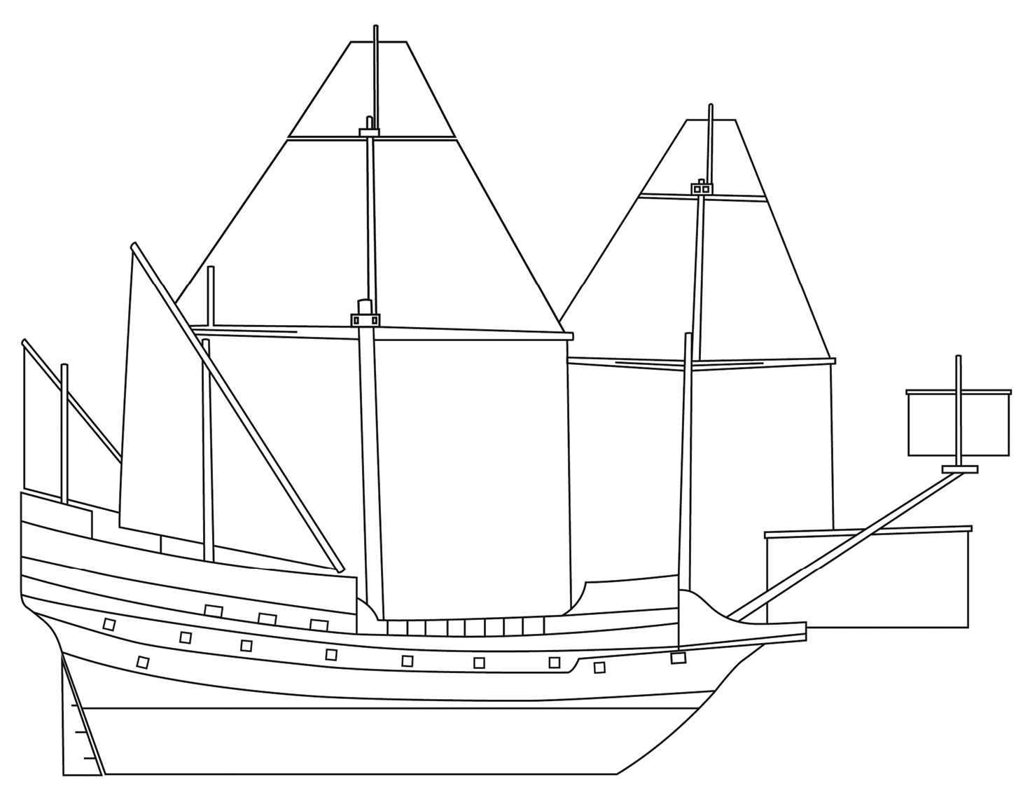RIGHT A drawing of what an English East India Company ship may have looked like in the early 1600s. In addition to the four masts, there was another small square sail attached to the bowsprit (the timber running out from the bow of the ship), which was used to help the ship turn.