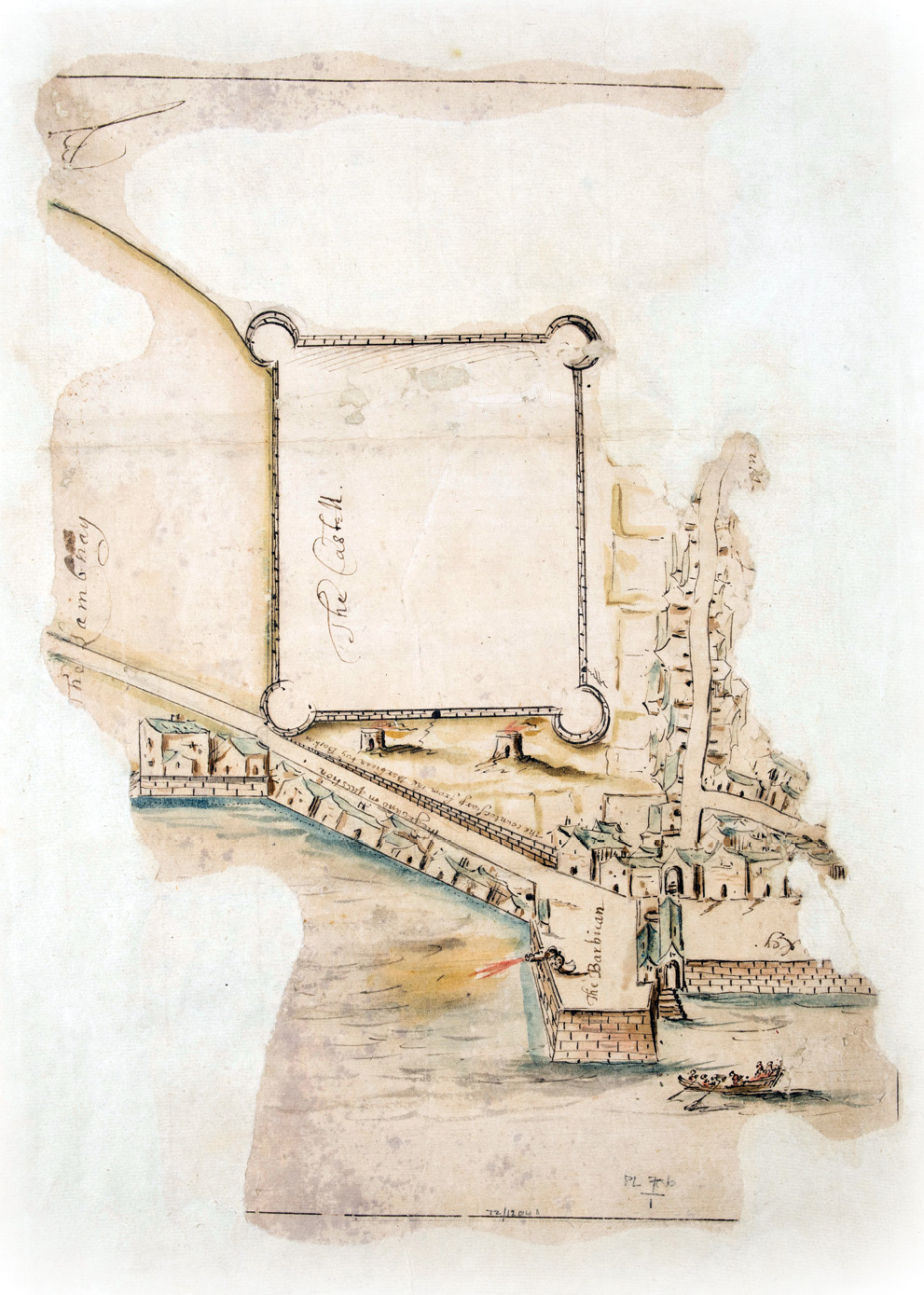 Above This plan of Plymouth's Barbican dates from the early 1600s. It includes a depiction of the steps that the Mayflower passengers may have used to depart Plymouth; today this location is marked with a stone portico (top opposite).
