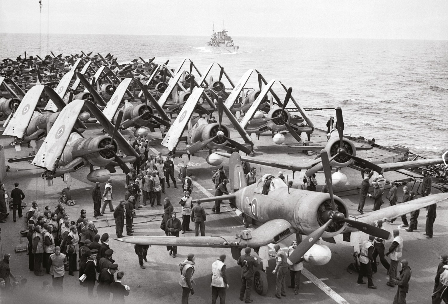 ABOVE Fleet Air Arm Corsairs and Barracudas on deck during Operation Mascot.