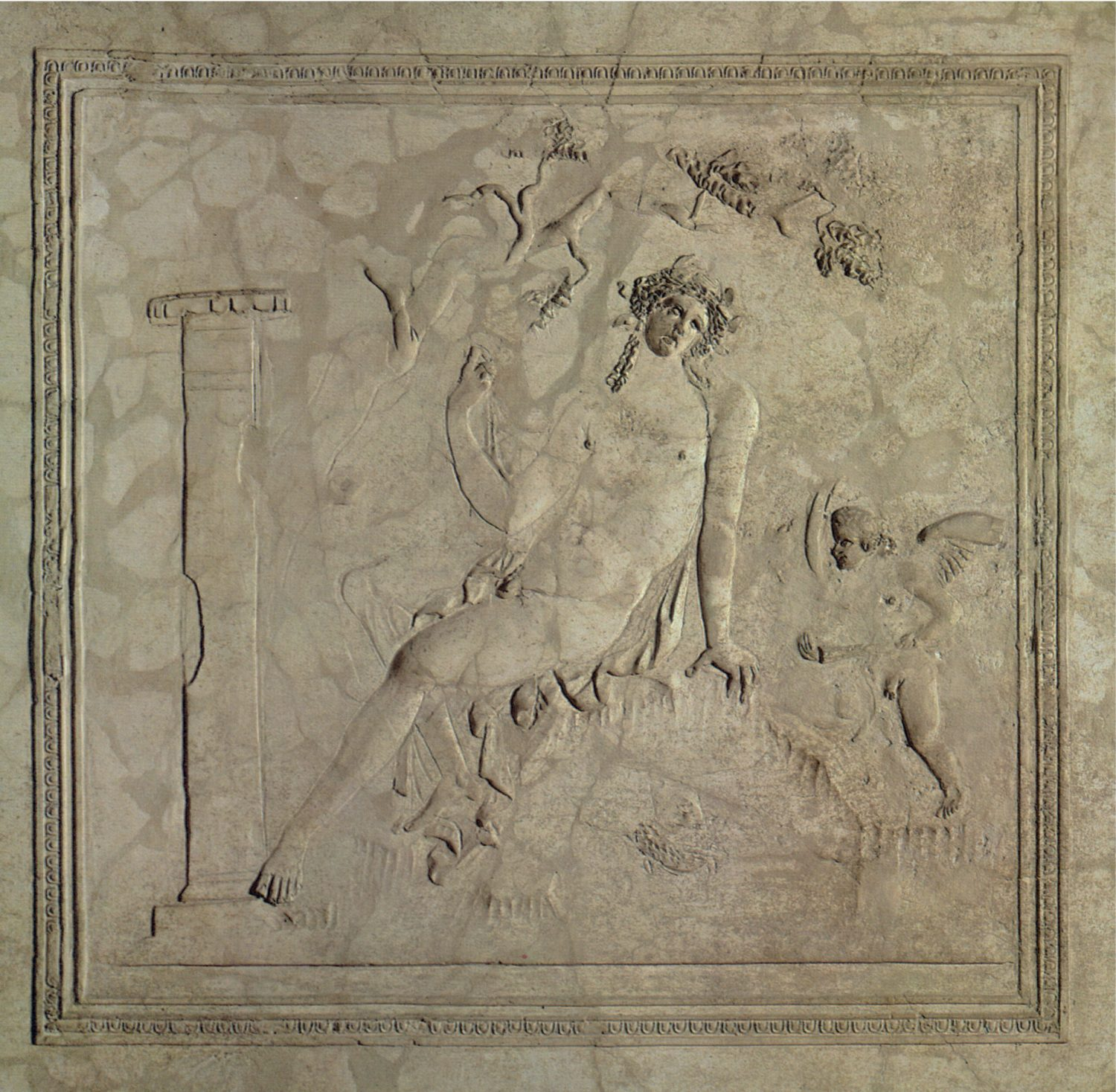 BELOW White stucco panel from a bathing complex showing Narcissus reclining in a landscape. Villa Petraro, c.AD 79.