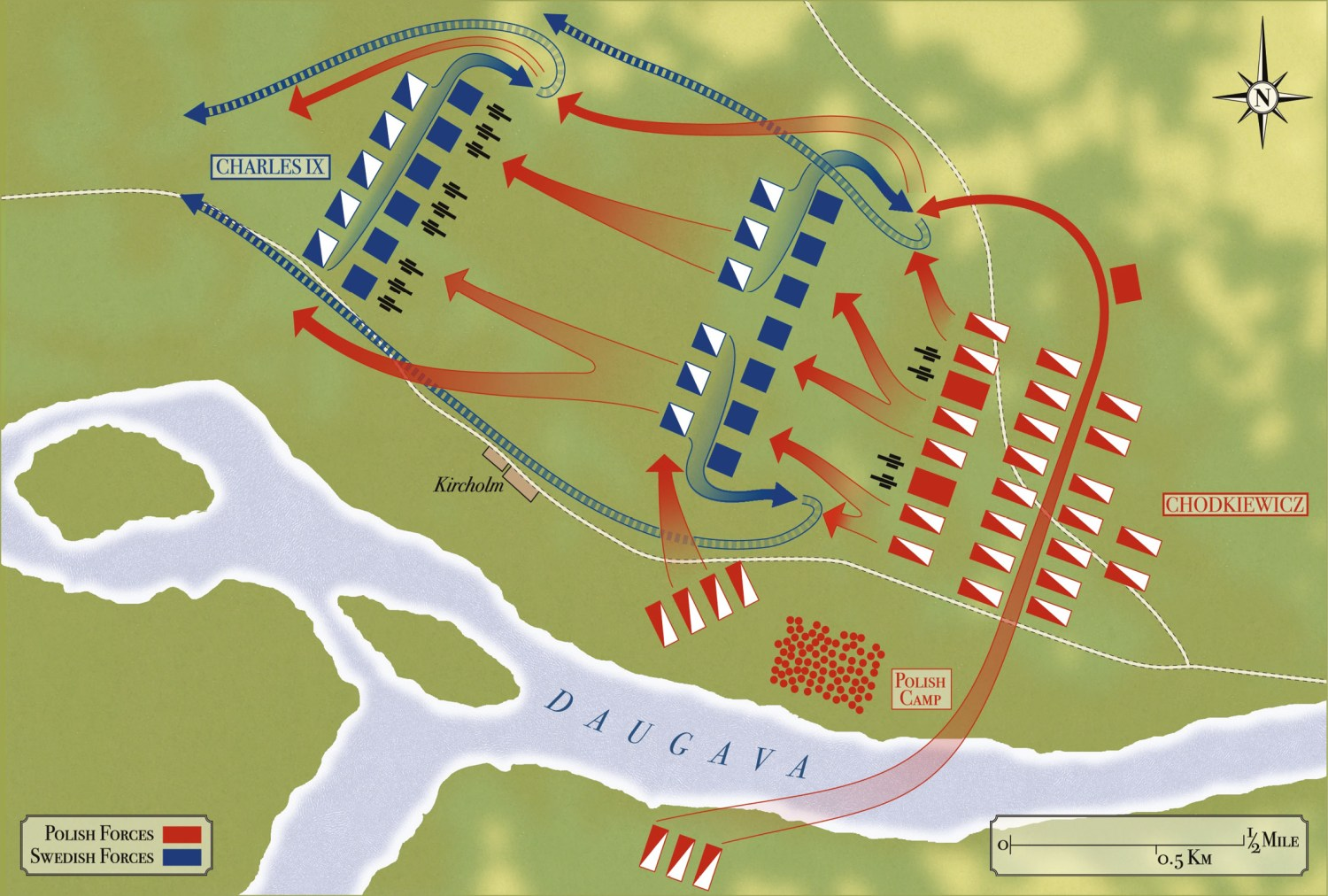 ABOVE The Battle of Kircholm, 27 September 1605, showing the armies deployed at the start of the battle and the direction of the Polish-Lithuanian cavalry charges. (See the illustration at the head of the article for the situation at the climax of the battle.)