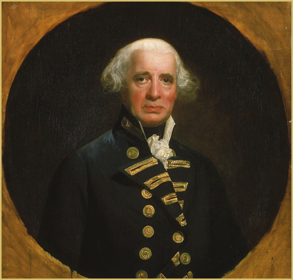 LEFT Admiral Richard 'Black Dick' Howe (1726-1799).