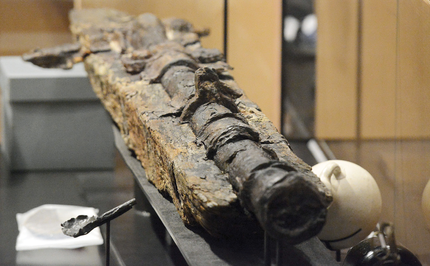 below A gun from the 16th-century 'Cattewater Wreck' being installed in The Box, a new museum in Plymouth.