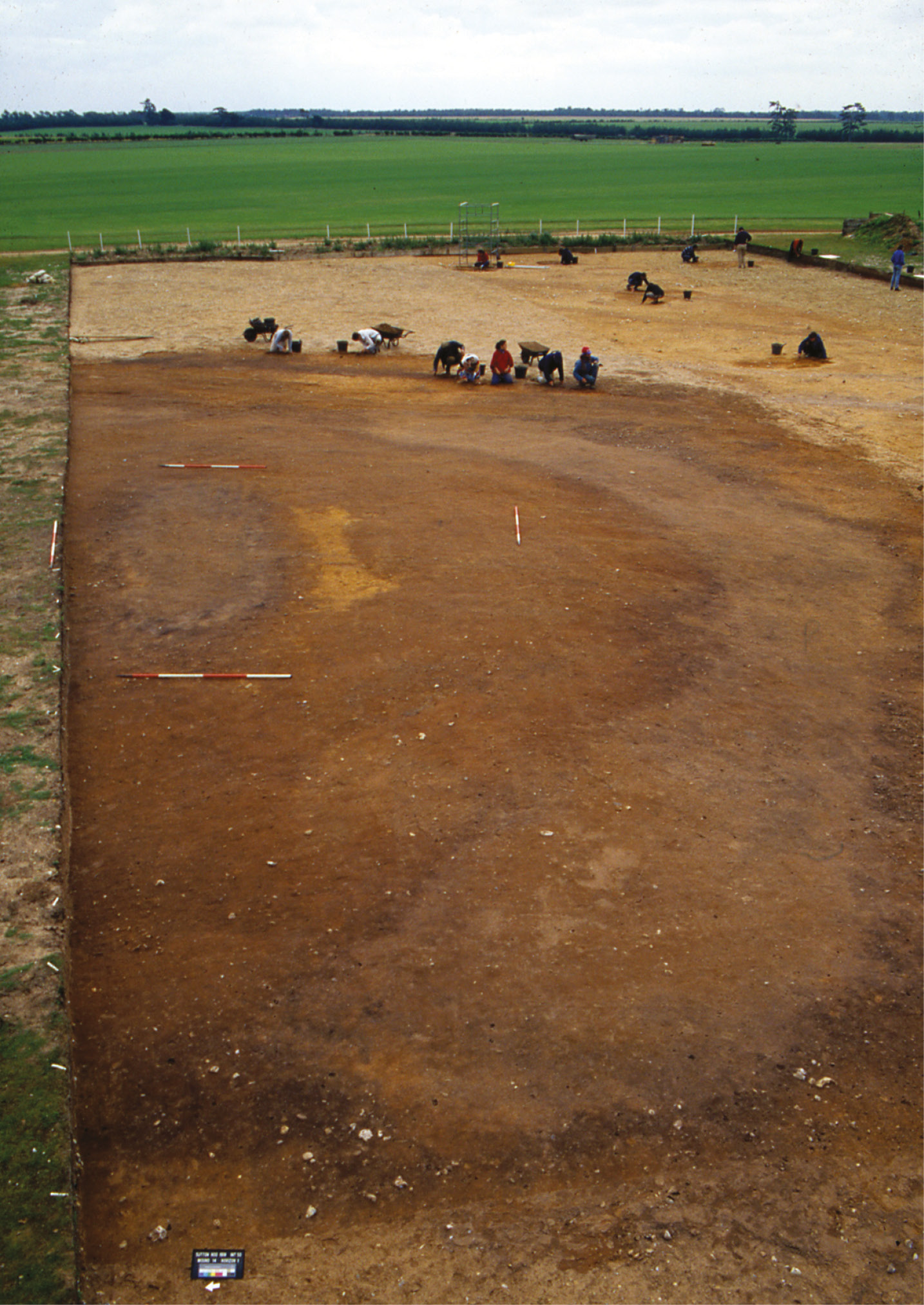 left Mound 14, with its robbed burial chamber, was investigated during Martin Carver's 1991 campaign at Sutton Hoo.