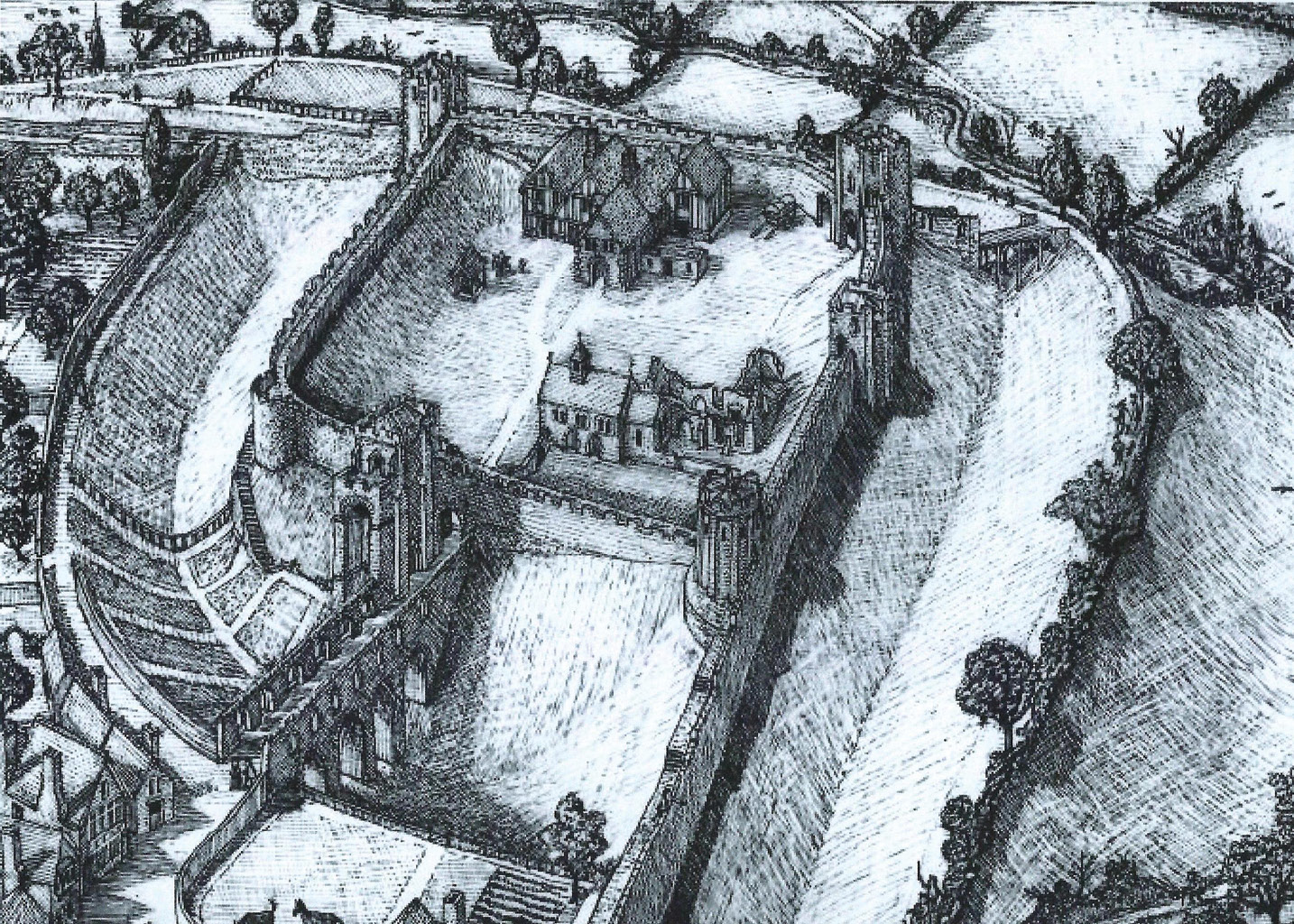 LEFT Further fortification came after the Norman Conquest, when William the Conqueror built a castle at Rougemont in 1068. Richard Parker's reconstruction depicts the castle in the later Middle Ages.